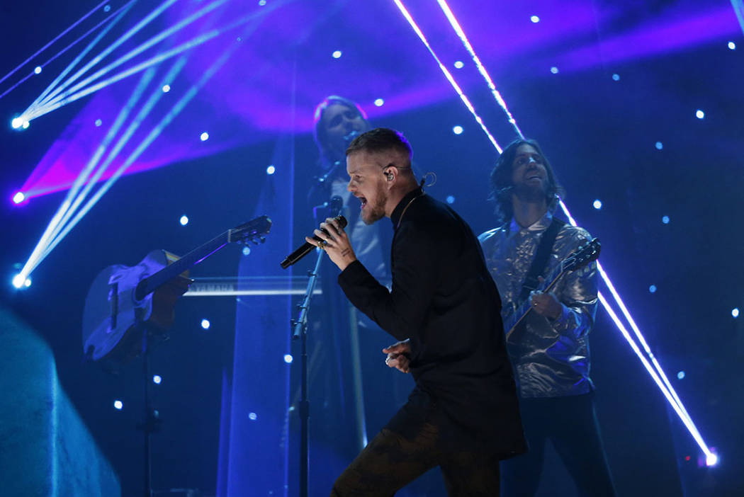 "Imagine Dragons performs ""Believer."" REUTERS/Mario Anzuoni"