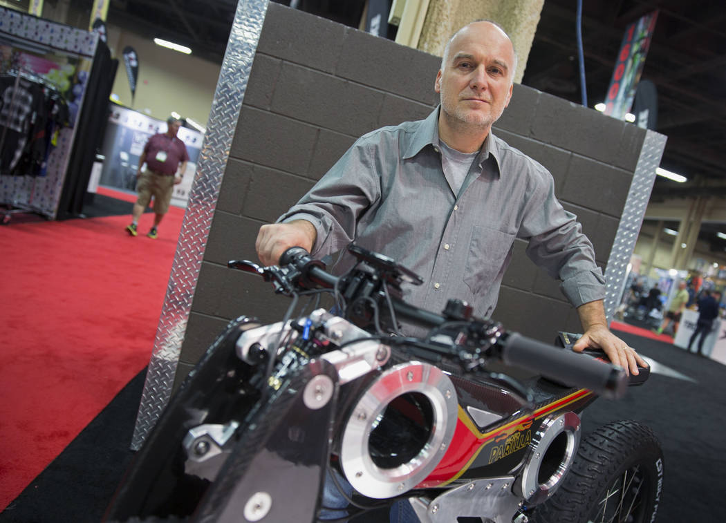Zeno Panarari stands next to his electric bicycle during the Interbike International Expo at Mandalay Bay Convention Center on Wednesday, Sep. 20, 2017. Todd Prince Las Vegas Review-Journal @toddp ...