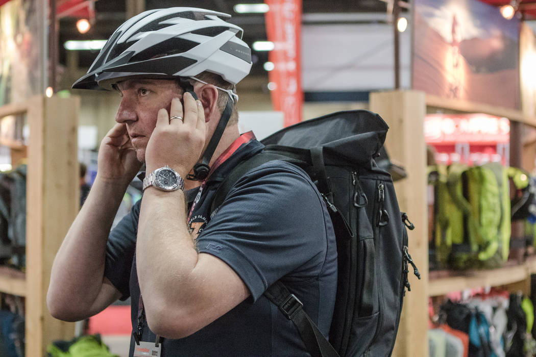 Connecticut resident tom Grand tries on a helmet at Interbike International Expo at Mandalay Bay Convention Center on Wednesday, Sep. 20, 2017, in Las Vegas. Morgan Lieberman Las Vegas Review-Journal