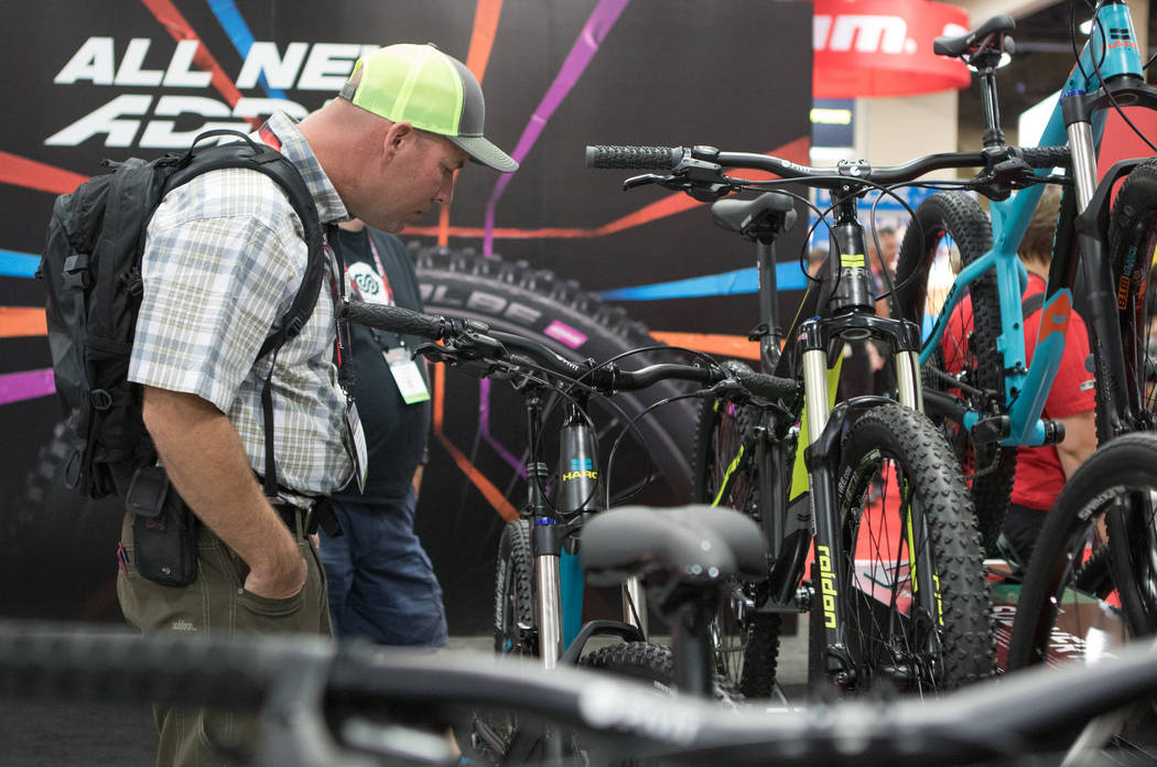 Colorado resident Bill Brown checks out an assortment of mountain bikes at Interbike International Expo at Mandalay Bay Convention Center on Wednesday, Sep. 20, 2017, in Las Vegas. Morgan Lieberma ...
