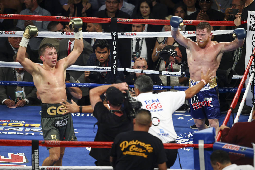 "Saul ""Canelo"" Alvarez, left, and Gennady ""GGG"" Golovkin at the end of their middleweight championship boxing match at T-Mobile Arena in Las Vegas on Saturday, Sept. ..."
