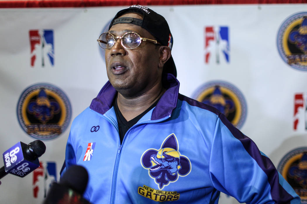New Orleans Gators' owner Percy Miller is interviewed before a basketball practice at the Cox Pavilion in Las Vegas, Friday, Sept. 22, 2017. The team is part of the newly-formed Global Mixed Gende ...