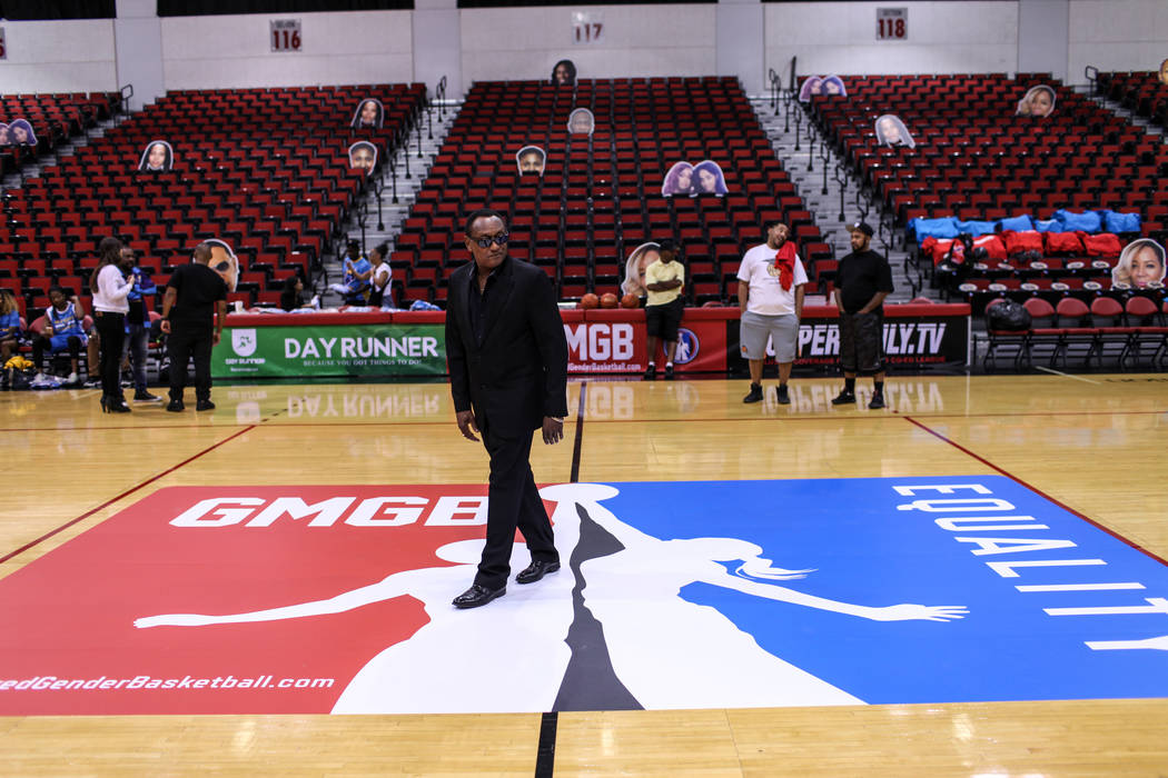 James Scott, CEO of the Global Mixed Gender Basketball League, walks on the basketball court at the Cox Pavilion in Las Vegas, Friday, Sept. 22, 2017. Joel Angel Juarez Las Vegas Review-Journal @j ...