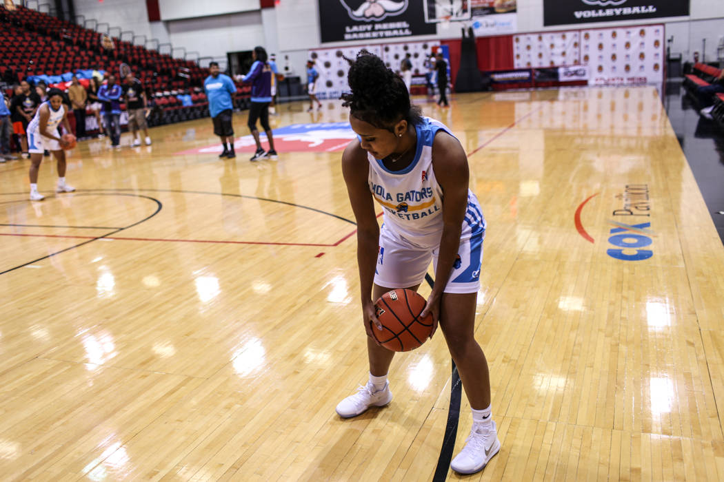 New Orleans Gators' Dakota Gonzalez attends a basketball practice at the Cox Pavilion in Las Vegas, Friday, Sept. 22, 2017. The team is part of the Global Mixed Gender Basketball League. Joel Ange ...