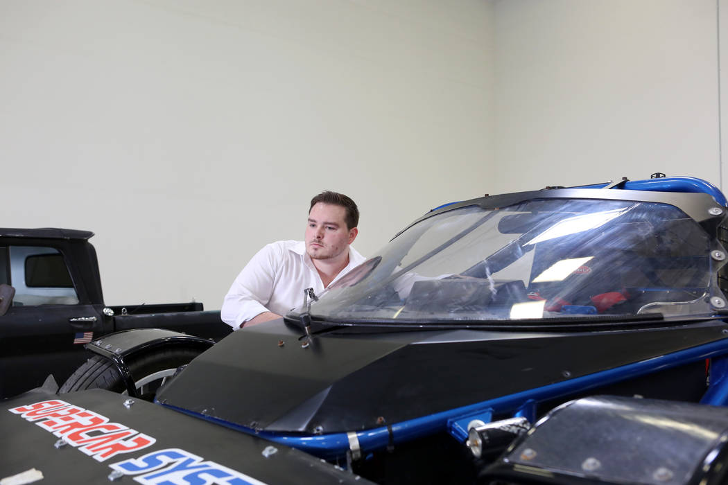 Engineer for Super System Kyle Denman starts Lab Rat, a prototype that's been through testing all over the world, at Supercar System in North Las Vegas, Wednesday, Sept. 20, 2017. Elizabeth Brumle ...