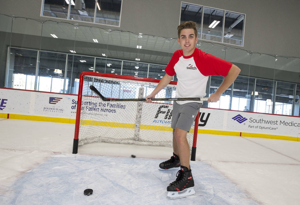 NASCAR Camping World Truck Series driver Noah Gragson on the rink following an ice hockey skills clinic with Vegas Golden Knights TV analyst Shane Hnidy at the City National Arena on Friday, Sept. ...