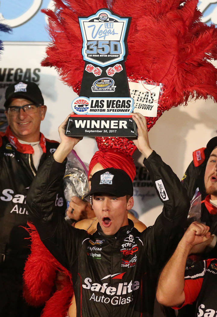 Ben Rhodes celebrates in victory lane after his first place win in the NASCAR Camping World Truck Series at Las Vegas Motor Speedway in Las Vegas, Saturday, Sept. 30, 2017. Bridget Bennett Las Veg ...