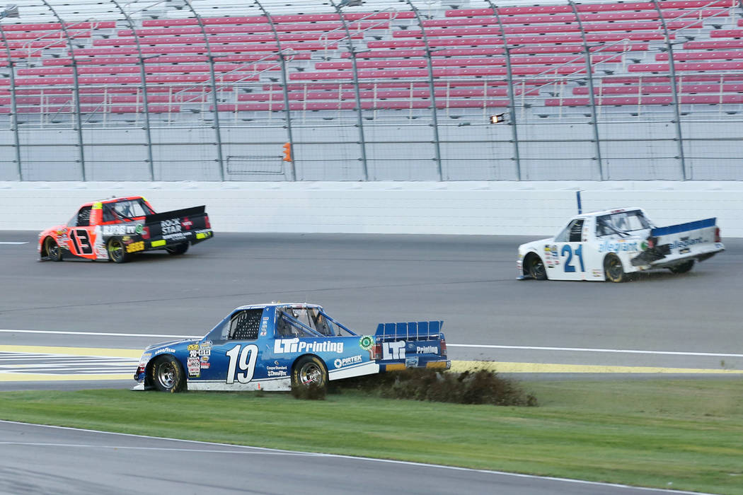 Austin Cindric (19) spins off into the grass during NASCAR Camping World Truck Series at Las Vegas Motor Speedway in Las Vegas, Saturday, Sept. 30, 2017. Bridget Bennett Las Vegas Review-Journal @ ...