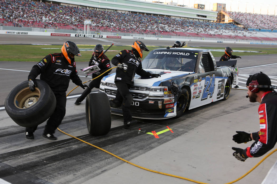 Justin Haley (24) pulls into pit road during the NASCAR Camping World Truck Series at Las Vegas Motor Speedway in Las Vegas, Saturday, Sept. 30, 2017. Bridget Bennett Las Vegas Review-Journal @Bri ...