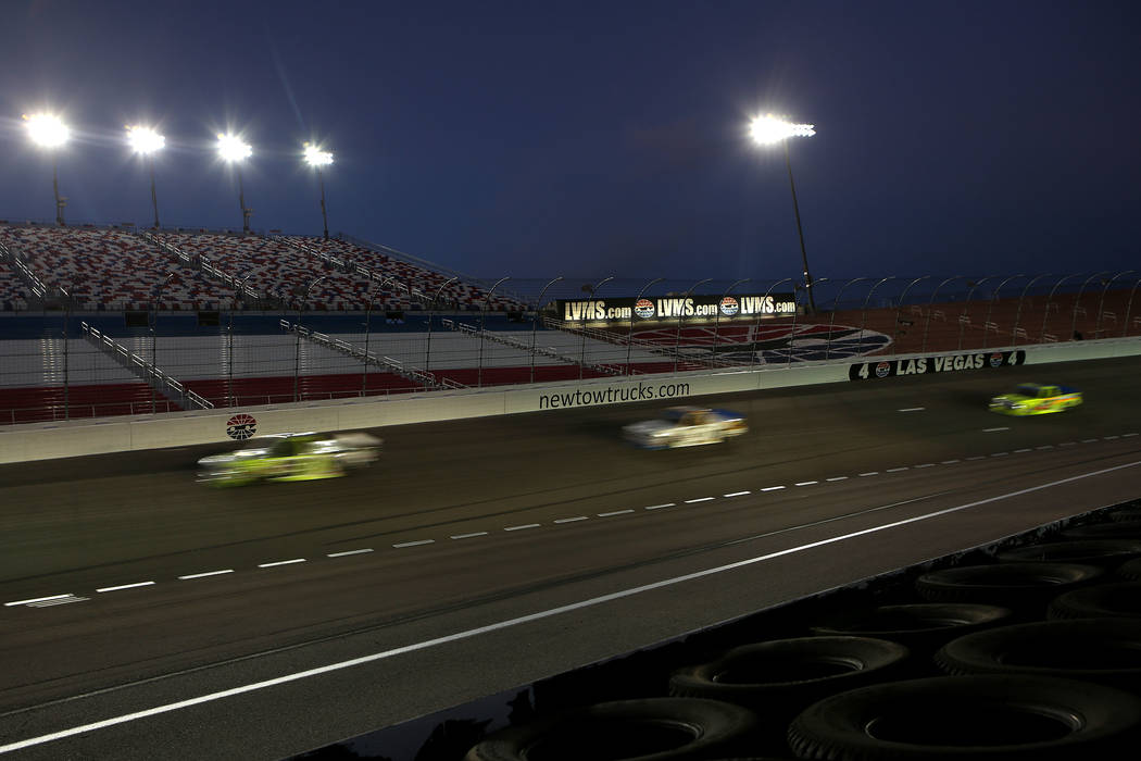 Racers make their way around the track in the NASCAR Camping World Truck Series at Las Vegas Motor Speedway in Las Vegas, Saturday, Sept. 30, 2017. Bridget Bennett Las Vegas Review-Journal @Bridge ...