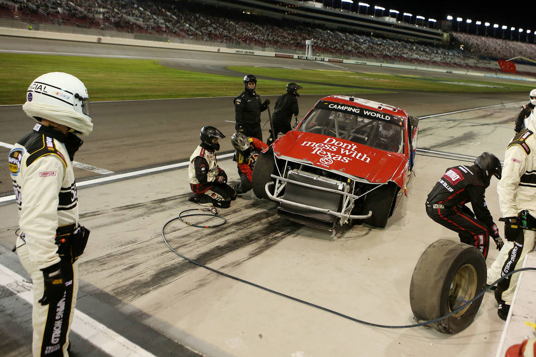Austin Wayne Self (44) pulls into pit road during the NASCAR Camping World Truck Series at Las Vegas Motor Speedway in Las Vegas, Saturday, Sept. 30, 2017. Bridget Bennett Las Vegas Review-Journal ...