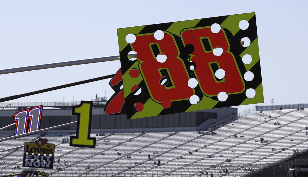 Dale Earnhardt Jr.'s #88 pit sign hangs over pit road prior to the NASCAR Cup Series 300 auto race at New Hampshire Motor Speedway in Loudon, N.H., Sunday, Sept. 24, 2017. (AP Photo/Charles Krupa)