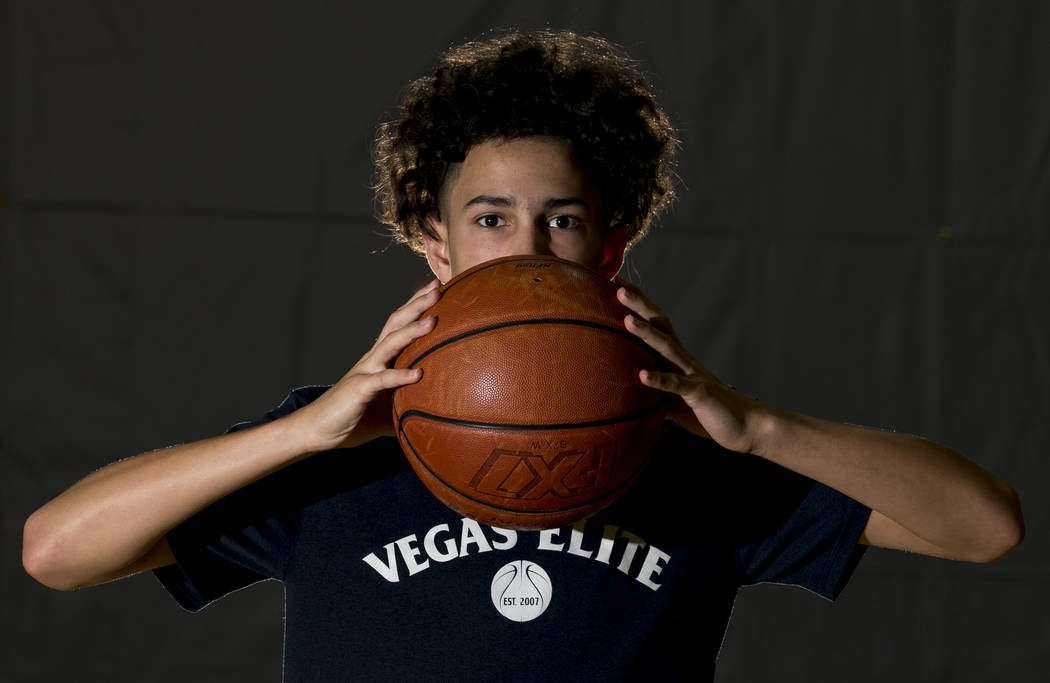 Vegas Elite point guard Richard Isaacs, 14, on the court before a workout session at the Bill and Lillie Heinrich YMCA in Las Vegas, Tuesday, Sept. 19, 2017. Richard Brian Las Vegas Review-Journal ...