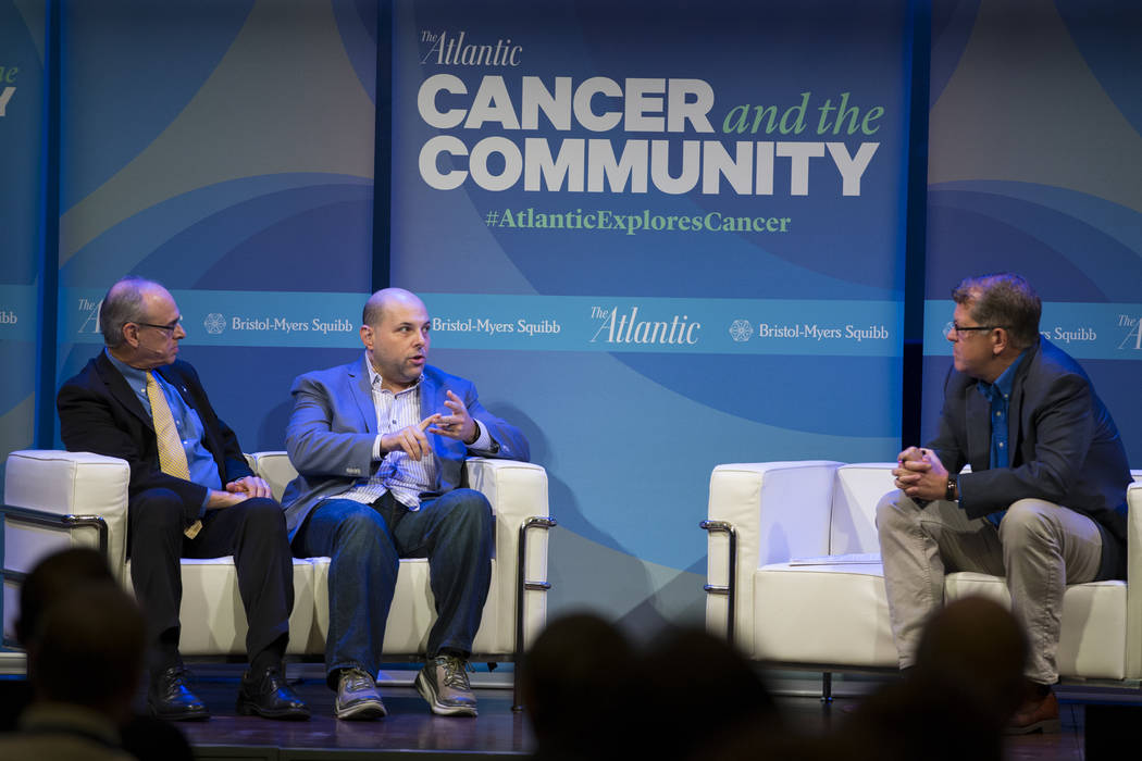 Richard Wender, from left, chief cancer control officer for the American Cancer Society, Matthew Zachary, founder and CEO of Stupid Cancer, and Steve Clemons, Washington Editor-At-Large at the The ...