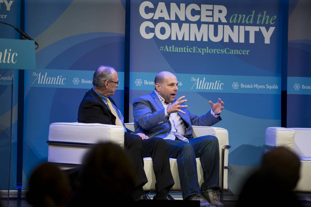 Richard Wender, left, chief cancer control officer for the American Cancer Society, and Matthew Zachary, founder and CEO of Stupid Cancer, during The Atlantic Cancer and the Community conference a ...