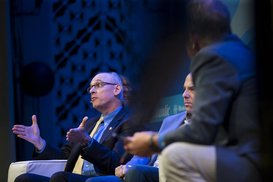 Richard Wender, left, chief cancer control officer for the American Cancer Society, during The Atlantic Cancer and the Community conference at the Cabaret Jazz at The Smith Center in Las Vegas, We ...