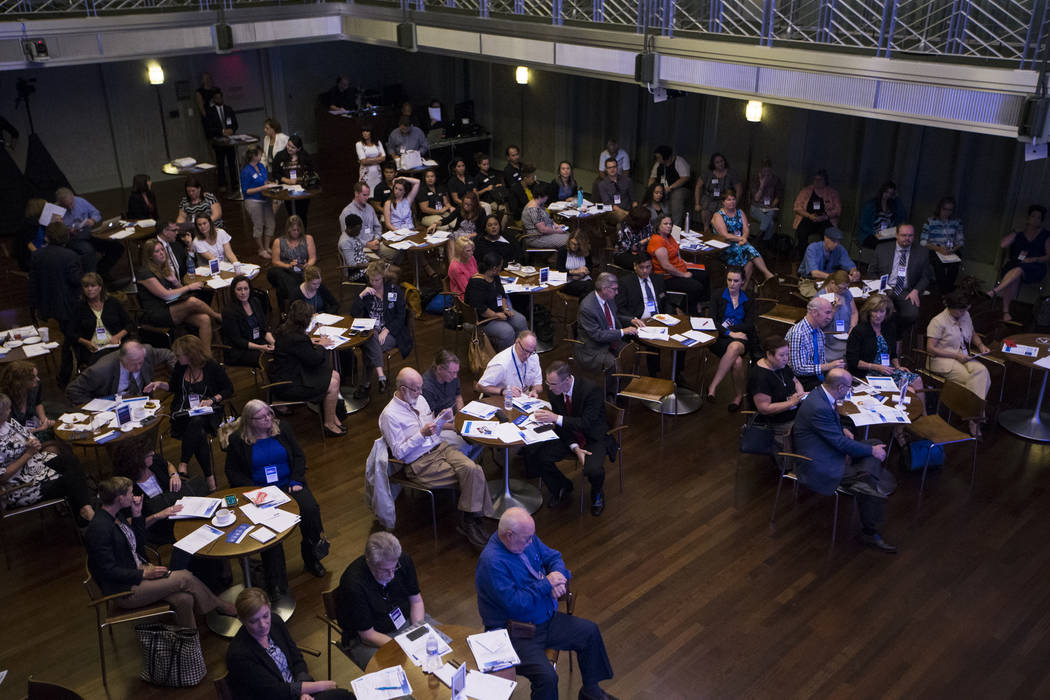 Attendees listen to a panel discussion during The Atlantic Cancer and the Community conference at the Cabaret Jazz at The Smith Center in Las Vegas, Wednesday, Sept. 20, 2017. Erik Verduzco Las Ve ...