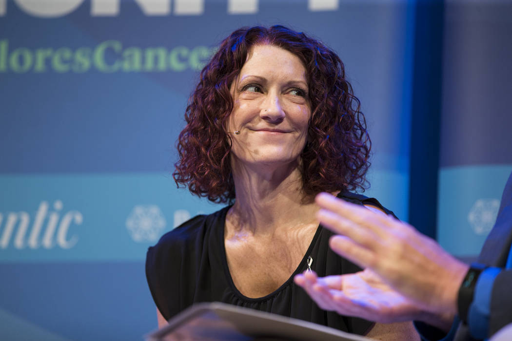 Lysa Buonanno, lung cancer survivor and patient advocate, during The Atlantic Cancer and the Community conference at the Cabaret Jazz at The Smith Center in Las Vegas, Wednesday, Sept. 20, 2017. E ...