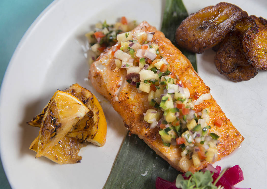 Yucatan halibut with pineapple, charred orange and sweet plantains at Chica on Thursday, September 22, 2017, at The Venetian hotel/casino, in Las Vegas. Benjamin Hager Las Vegas Review-Journal @be ...