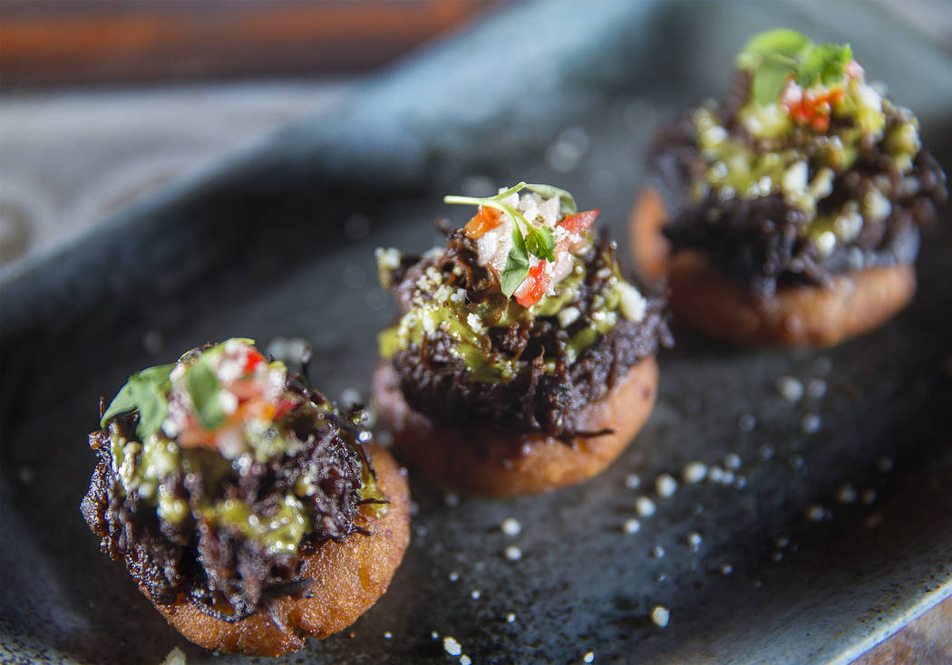 Asado negro arepas topped with braised short ribs at Chica on Thursday, September 22, 2017, at The Venetian hotel/casino, in Las Vegas. Benjamin Hager Las Vegas Review-Journal @benjaminhphoto