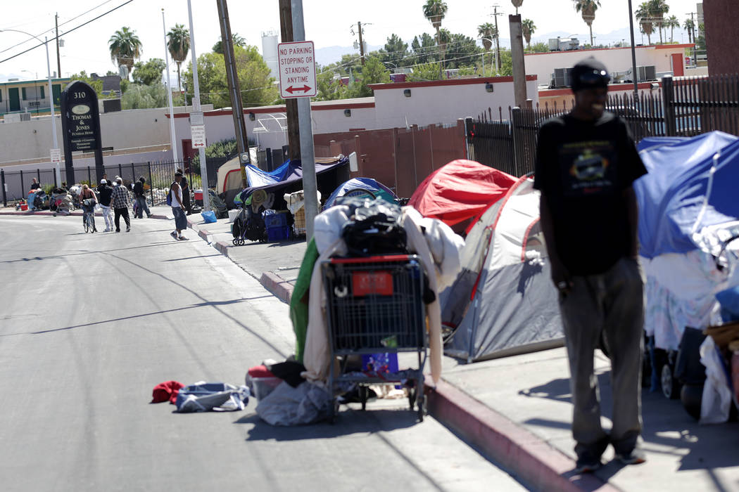 Foremaster Lane, a common congregation place for the homeless, is seen on Monday, Sept. 19, 2016, in Las Vegas. Rachel Aston/Las Vegas Review-Journal Follow @rookie__rae