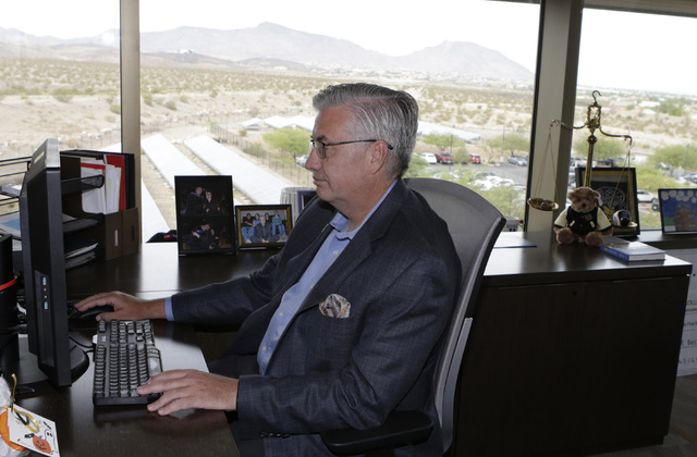 Bart Patterson, Nevada State College president, works in his office Thursday, Oct. 27, 2016, in Henderson. Bizuayehu Tesfaye/Las Vegas Review-Journal Follow @bizutesfaye