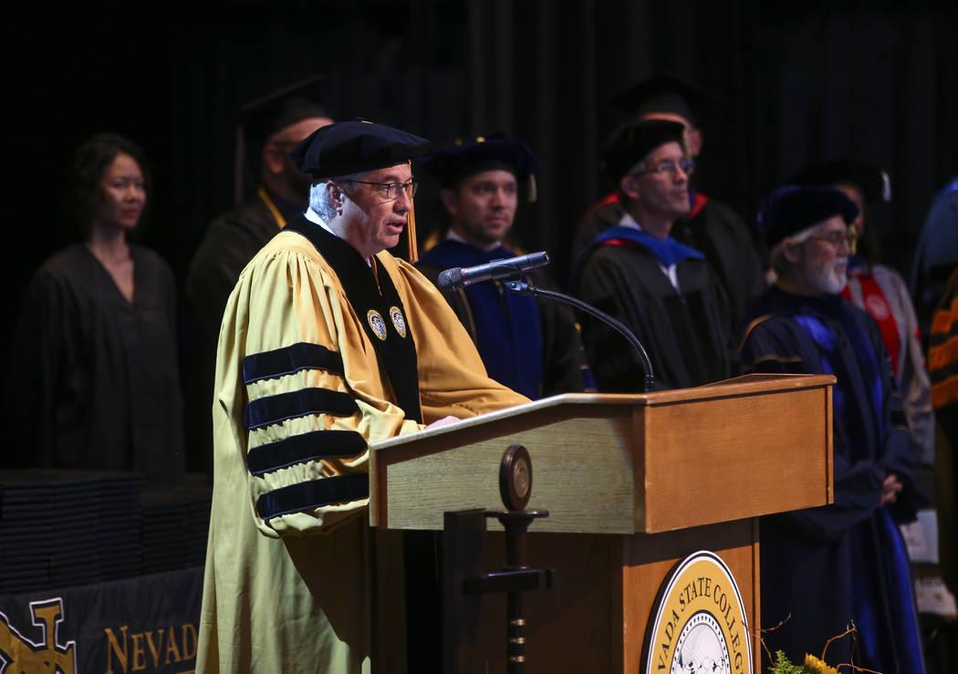 Nevada State College President Bart Patterson speaks during his school's commencement ceremony. Chase Stevens Las Vegas Review-Journal @csstevensphoto