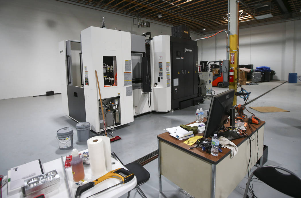 An Okuma horizontal computer-controlled cutting machine, which allows for faster parts production, at the new location for Battle Arms Development at 451 E. Sunset Road in Henderson on Wednesday,  ...