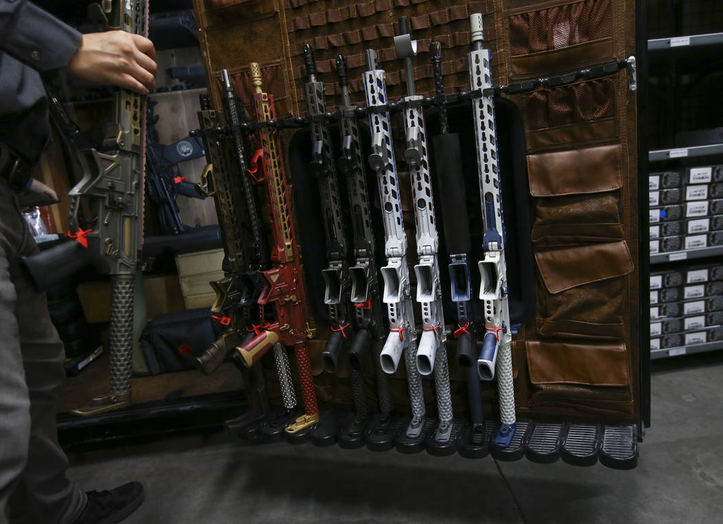 A variety of customized AR-15 rifles at Battle Arms Development, 180 Cassia Way, in Henderson on Wednesday, Sept. 20, 2017. The company, which offers firearm parts and customization, is expanding  ...