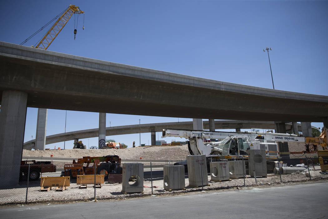 Construction on the ramp connecting southbound U.S. 95 to northbound Interstate 15 in Las Vegas on Wednesday, Aug. 16, 2017. (Erik Verduzco/Las Vegas Review-Journal) @Erik_Verduzco
