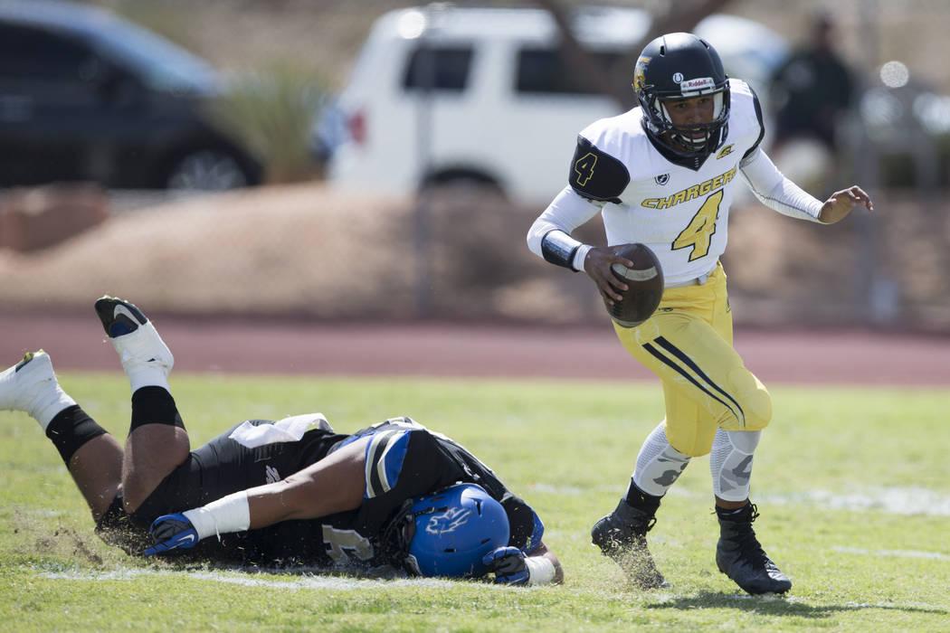 Clark's Jared Jenkins (4) runs the ball against Sierra Vista in their football game at Sierra Vista High School in Las Vegas, Saturday, Sept. 23, 2017. Sierra Vista won 49-14. Erik Verduzco Las Ve ...