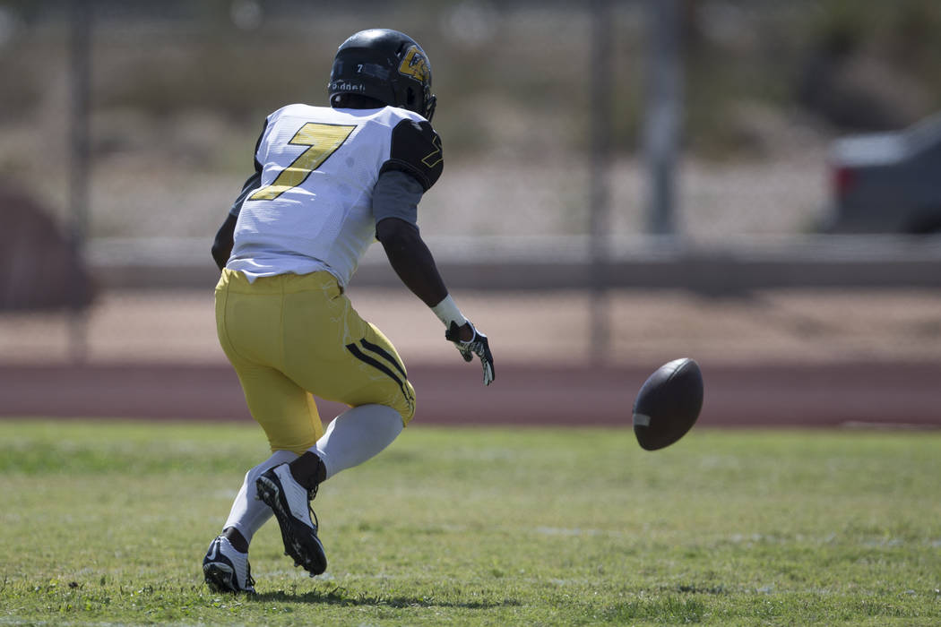 Clark's Aquantay Morris (7) runs to recover a fumble against Sierra Vista in their football game at Sierra Vista High School in Las Vegas, Saturday, Sept. 23, 2017. Sierra Vista won 49-14. Erik Ve ...