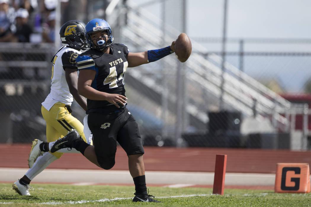 Sierra Vista's Taelase Gaoteote (44) runs the ball for a touchdown against Clark in their football game at Sierra Vista High School in Las Vegas, Saturday, Sept. 23, 2017. Sierra Vista won 49-14.  ...