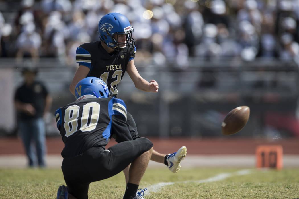 Sierra Vista's Trevor Gentner (12) kick the ball for an extra point against Clark in their football game at Sierra Vista High School in Las Vegas, Saturday, Sept. 23, 2017. Sierra Vista won 49-14. ...