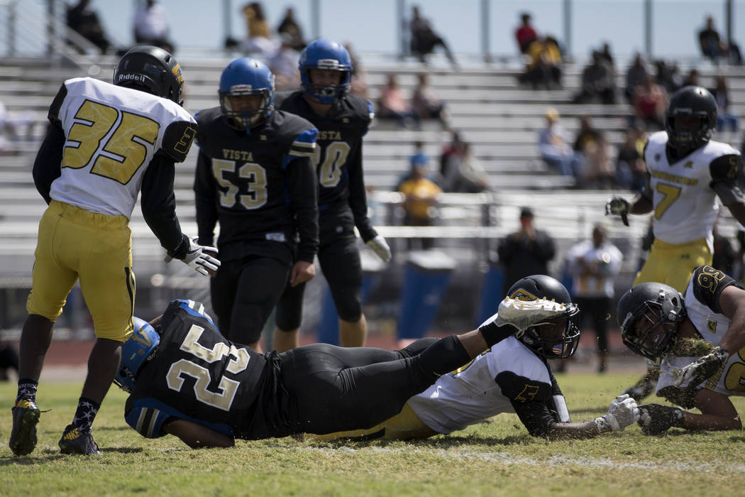 Sierra Vista's Isaiah Zavala (25) runs the against Clark in their football game at Sierra Vista High School in Las Vegas, Saturday, Sept. 23, 2017. Sierra Vista won 49-14. Erik Verduzco Las Vegas  ...