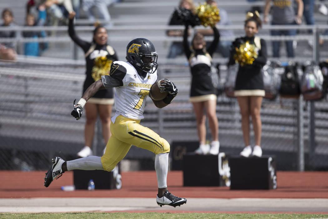 Clark's Aquantay Morris (7) runs the ball for a touchdown against Sierra Vista in their football game at Sierra Vista High School in Las Vegas, Saturday, Sept. 23, 2017. Sierra Vista won 49-14. Er ...
