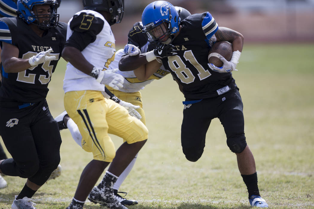 Sierra Vista's Aaron Kahaleauki (81) runs the ball against Clark in their football game at Sierra Vista High School in Las Vegas, Saturday, Sept. 23, 2017. Sierra Vista won 49-14. Erik Verduzco La ...