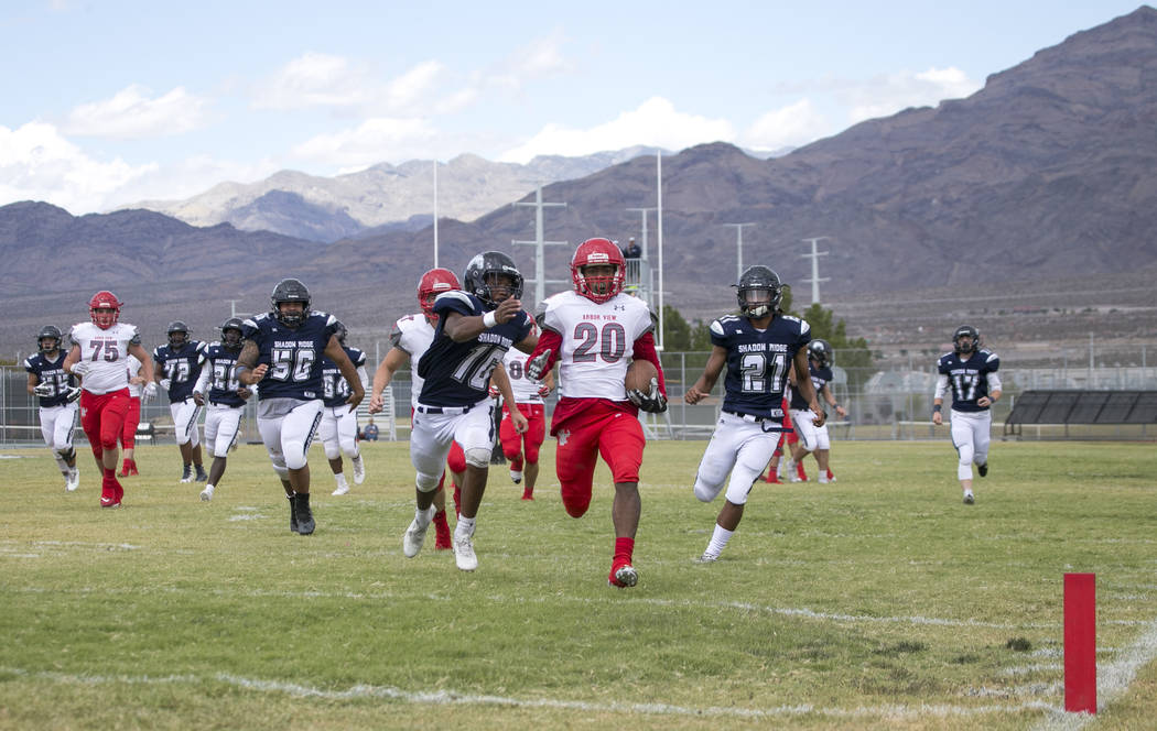 Arbor View's Jaquari Hannie (20) approaches the end zone for a touchdown against Shadow Ridge during a football game at Shadow Ridge High School on Saturday, Sept. 23, 2017, in Las Vegas. Richard  ...