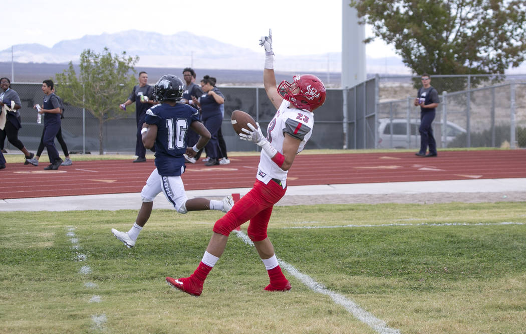 Arbor View's Deago Stubbs (23) celebrates after scoring a touchdown against Shadow Ridge during a football game at Shadow Ridge High School on Saturday, Sept. 23, 2017, in Las Vegas. Richard Brian ...