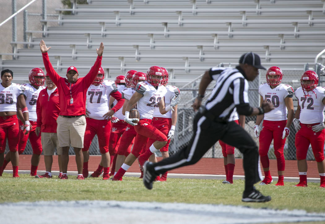Arbor View's Deago Stubbs (23) breaks away for a touchdown against Shadow Ridge during a football game at Shadow Ridge High School on Saturday, Sept. 23, 2017, in Las Vegas. Richard Brian Las Vega ...
