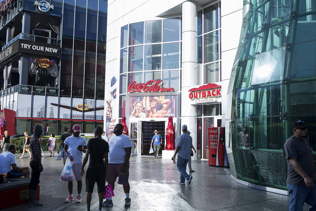Pedestrians walk past Showcase Mall on the Strip on Wednesday, Sept. 20, 2017, in Las Vegas. The owners of the mall are looking to expand. Bridget Bennett Las Vegas Review-Journal @bridgetkbennett