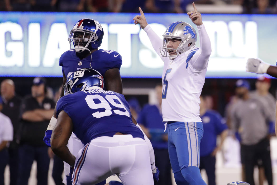 Detroit Lions kicker Matt Prater (5) celebrates after kicking a field goal during the first half of an NFL football game against the New York Giants Monday, Sept. 18, 2017, in East Rutherford, N.J ...