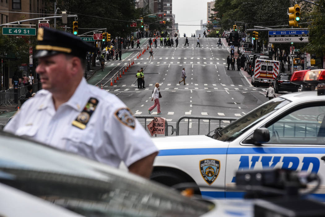 Second Avenue is shut down to traffic in anticipation of  President Trump's motorcade during the United Nations General Assembly in New York City, Sept. 19, 2017. (Stephanie Keith/Reuters)