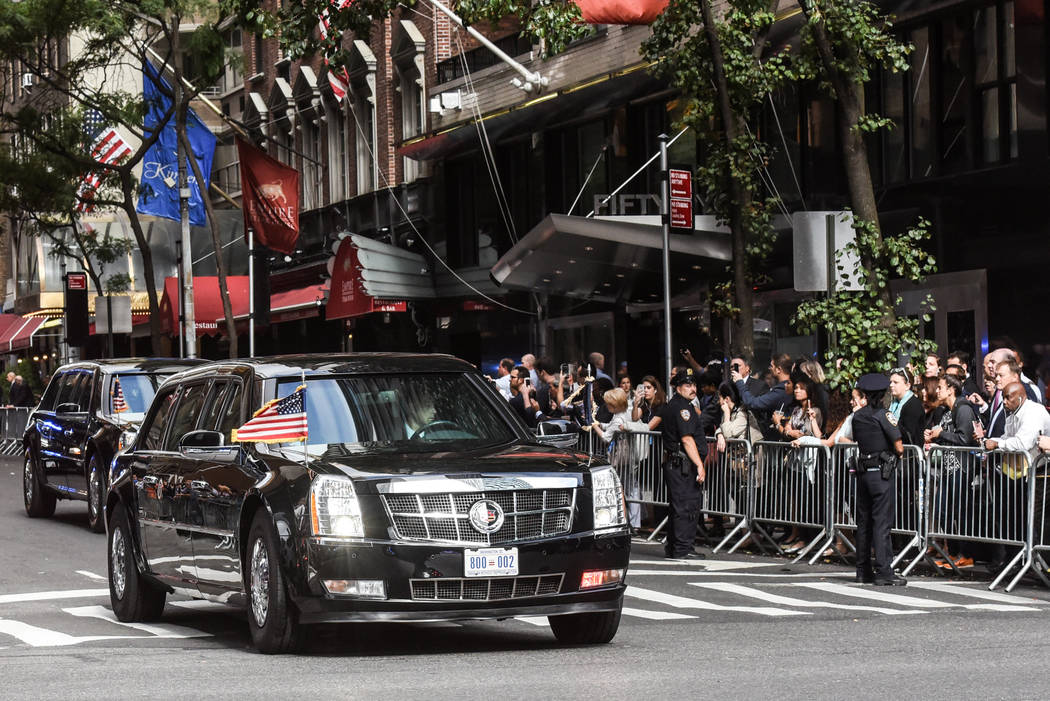 President Trump's motorcade drives through New York City during the United Nations General Assembly in New York City, Sept. 19, 2017. (Stephanie Keith/Reuters)