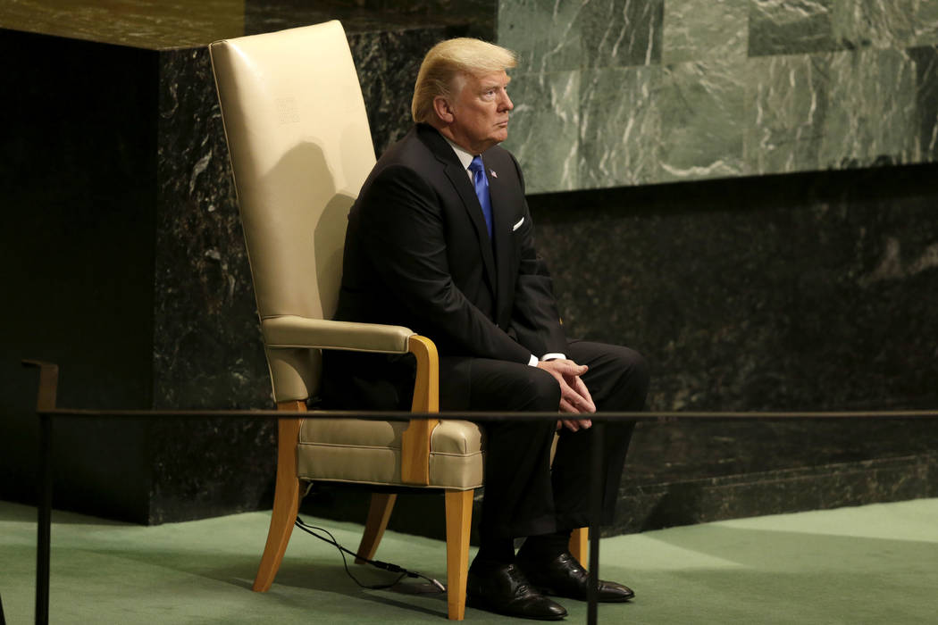 President Donald Trump prepares to speak during the United Nations General Assembly at U.N. headquarters, Tuesday, Sept. 19, 2017. (Seth Wenig/AP)