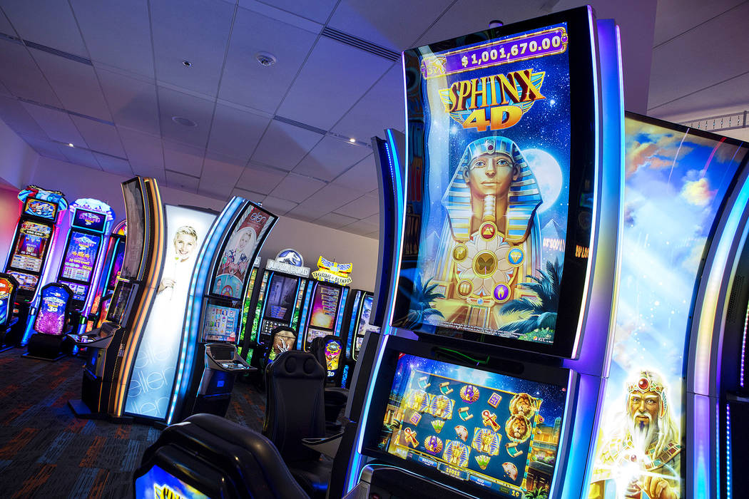 A Sphinx 4D game in the showroom at International Game Technology, also referred to as IGT, on Wednesday, Sept. 20, 2017, in Las Vegas. The game is to be premiered at the Global Gaming Expo. Bridg ...