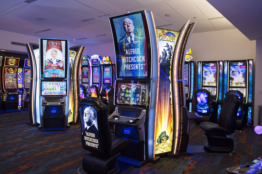 An Alfred Hitchcock game is the showroom at International Game Technology, also referred to as IGT, on Wednesday, Sept. 20, 2017, in Las Vegas. The game is to be premiered at the Global Gaming Exp ...