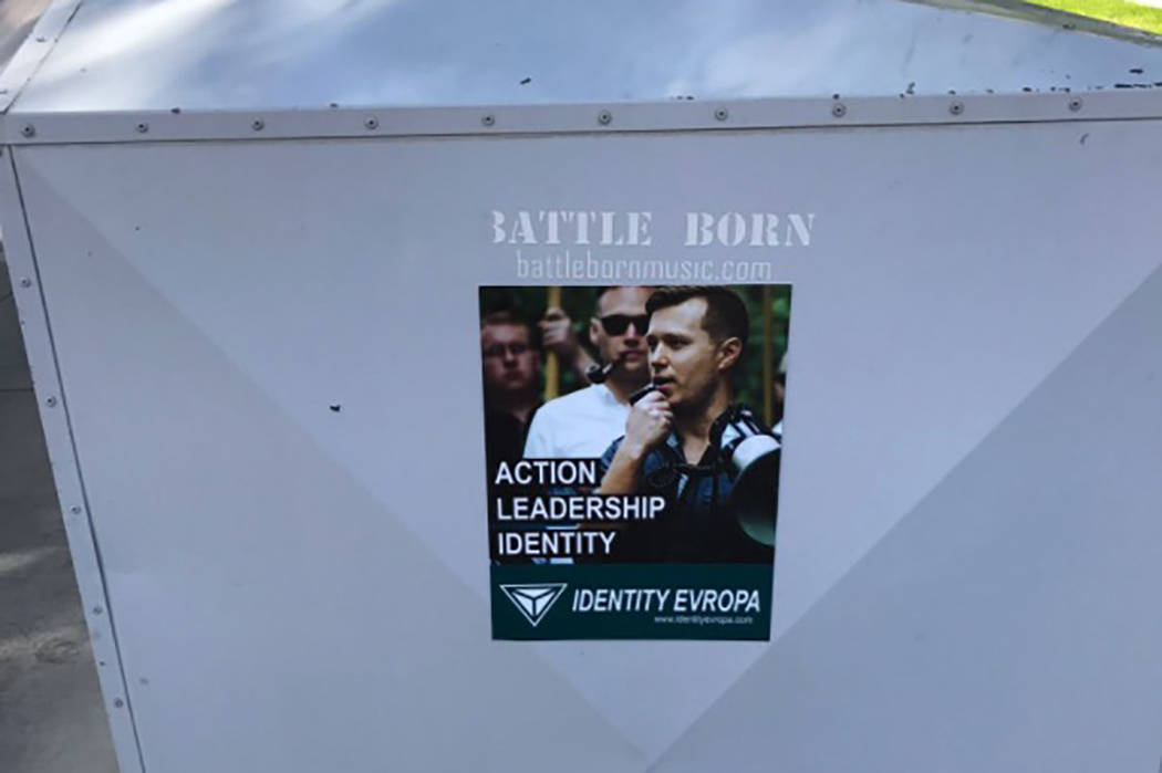 An advertisement for the white supremacist group Identity Evropa was found on UNLV's campus Tuesday morning on a book drop near the Cottage Grove Avenue parking garage. (Twitter/Brett Le Blanc)