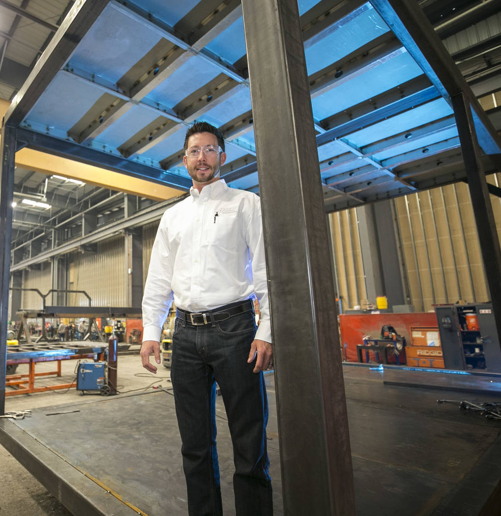 Xtreme Manufacturing President Brandon Main stands in one of his modular cubes on the assembly line of Xtreme Manufacturing, 8350 Eastgate Rd., in Henderson, Tuesday, Sept. 19, 2017. Richard Brian ...