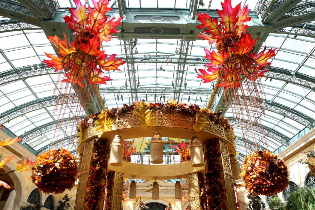 The fall display inspired by a recent trip to India by renowned designer Ed Libby, at the Bellagio Conservatory & Botanical Gardens in Las Vegas, Tuesday, Sept. 19, 207. (Elizabeth Brumley/Las ...